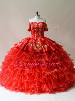 Sumptuous Red Organza Lace Up Off The Shoulder Sleeveless Floor Length Vestidos de Quinceanera Embroidery and Ruffled Layers