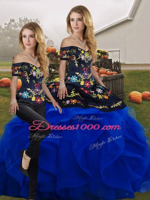 Admirable Blue And Black Lace Up Off The Shoulder Embroidery and Ruffles Ball Gown Prom Dress Tulle Sleeveless