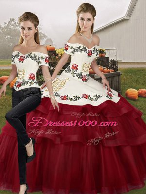 Amazing Wine Red Quinceanera Gowns Off The Shoulder Sleeveless Brush Train Lace Up