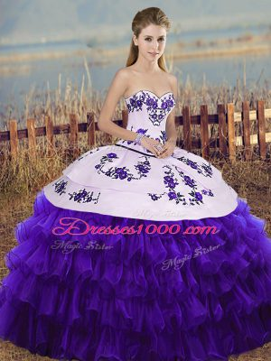 Admirable White And Purple Sweetheart Neckline Embroidery and Ruffled Layers and Bowknot Ball Gown Prom Dress Sleeveless Lace Up