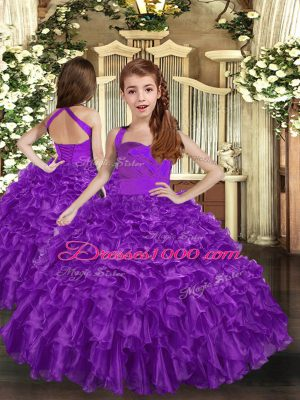 Purple Ball Gowns Ruffles Pageant Dress Lace Up Organza Sleeveless Floor Length