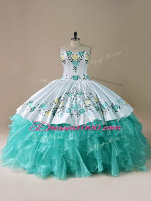 Fashionable Blue And White Lace Up Sweetheart Embroidery and Ruffles Sweet 16 Dresses Organza Sleeveless