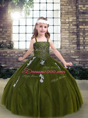 Little Girls Pageant Dress Olive Green Strapless Tulle Sleeveless Floor Length Lace Up