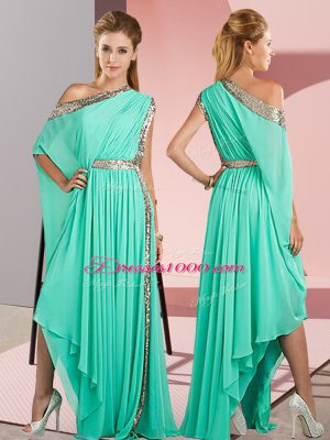 Turquoise Chiffon Side Zipper One Shoulder Sleeveless Asymmetrical Prom Dresses Sequins