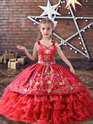 Red Lace Up Pageant Gowns For Girls Embroidery and Ruffled Layers Sleeveless Floor Length
