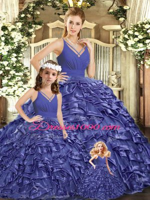 High Class Lavender Quinceanera Dress Organza Brush Train Sleeveless Ruffles