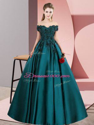 Luxury Lace Sweet 16 Dresses Teal Zipper Sleeveless Floor Length