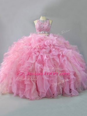 Pink Sleeveless Beading and Ruffles Floor Length Quince Ball Gowns