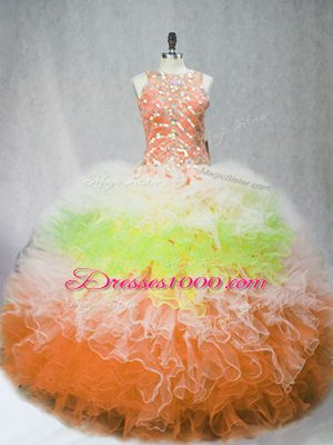 Multi-color Ball Gowns Beading and Ruffles Quince Ball Gowns Zipper Tulle Sleeveless Floor Length