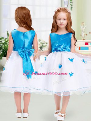 White Sleeveless Knee Length Appliques and Bowknot Zipper Toddler Flower Girl Dress