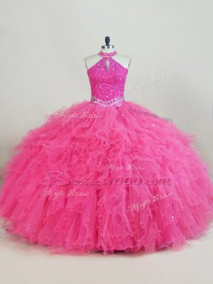 Comfortable Hot Pink Sleeveless Tulle Lace Up Sweet 16 Dress for Sweet 16 and Quinceanera