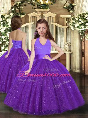Purple Lace Up Halter Top Ruching Pageant Dress Womens Tulle Sleeveless