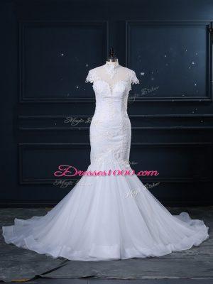 Mermaid Cap Sleeves White Wedding Dresses Court Train Clasp Handle