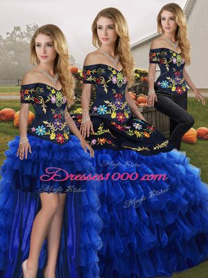 Spectacular Three Pieces Quince Ball Gowns Blue And Black Off The Shoulder Organza Sleeveless Floor Length Lace Up