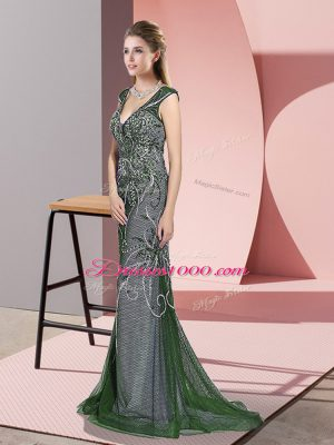 Beautiful Green Sleeveless Tulle Sweep Train Zipper Prom Gown for Prom and Party