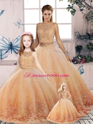Tulle Scalloped Sleeveless Sweep Train Backless Lace Vestidos de Quinceanera in Peach