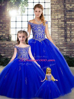 Off The Shoulder Sleeveless Sweet 16 Dresses Floor Length Beading Royal Blue Tulle