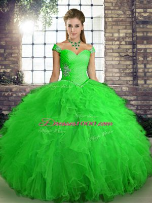 Fabulous Ball Gowns Quinceanera Gowns Green Off The Shoulder Tulle Sleeveless Floor Length Lace Up