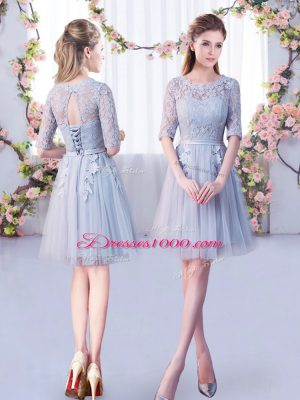 Wonderful Mini Length Empire Half Sleeves Grey Bridesmaid Dress Lace Up