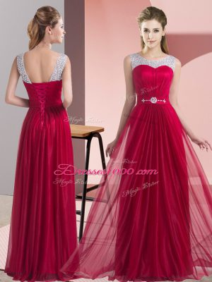 Deluxe Floor Length Lace Up Wedding Guest Dresses Wine Red for Wedding Party with Beading and Belt