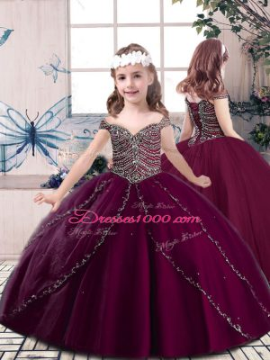 Sleeveless Beading Lace Up Little Girl Pageant Dress