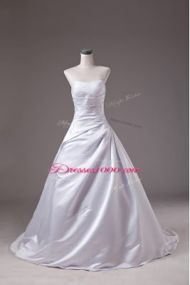 White Wedding Gowns Wedding Party with Beading Strapless Sleeveless Brush Train Lace Up