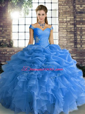 Blue Off The Shoulder Neckline Beading and Ruffles and Pick Ups Quinceanera Gown Sleeveless Lace Up