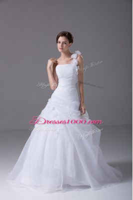 Organza One Shoulder Sleeveless Brush Train Lace Up Hand Made Flower Bridal Gown in White