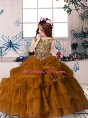 New Style Brown Ball Gowns Beading and Pick Ups Party Dress for Girls Zipper Organza Sleeveless Floor Length
