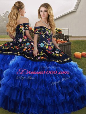 Custom Design Blue And Black Off The Shoulder Lace Up Embroidery and Ruffled Layers Quinceanera Gown Sleeveless