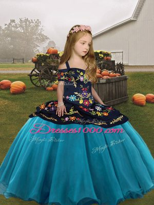 Teal Pageant Gowns For Girls Party and Wedding Party with Embroidery Straps Sleeveless Lace Up