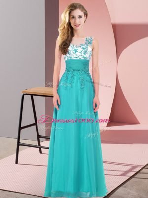 Deluxe Teal Backless Scoop Appliques Damas Dress Chiffon Sleeveless