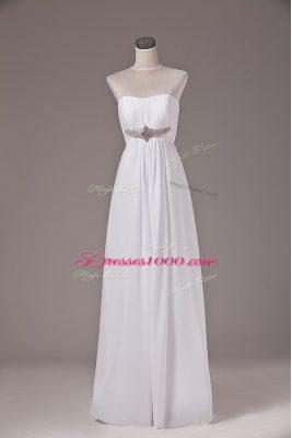 Captivating White Empire Beading Wedding Dresses Lace Up Chiffon Sleeveless Floor Length