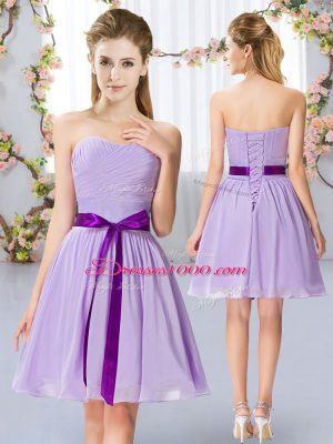 Hot Selling Lavender Sleeveless Mini Length Belt Lace Up Quinceanera Court Dresses