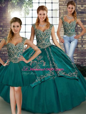 Inexpensive Teal Sleeveless Floor Length Beading and Embroidery Lace Up Sweet 16 Quinceanera Dress
