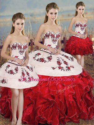 Sleeveless Organza Floor Length Lace Up 15th Birthday Dress in White And Red with Embroidery and Ruffles and Bowknot