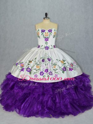 Graceful White And Purple Lace Up Sweetheart Embroidery and Ruffles Sweet 16 Quinceanera Dress Organza Sleeveless