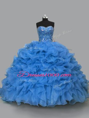 Beauteous Sleeveless Organza Floor Length Lace Up Quinceanera Gown in Blue with Beading and Ruffles