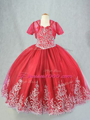 Exquisite Red Lace Up Kids Pageant Dress Beading and Embroidery Sleeveless Floor Length