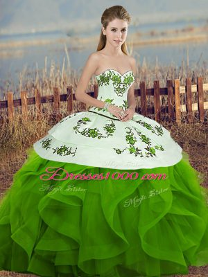 Green Tulle Lace Up Sweet 16 Quinceanera Dress Sleeveless Floor Length Embroidery and Ruffles and Bowknot