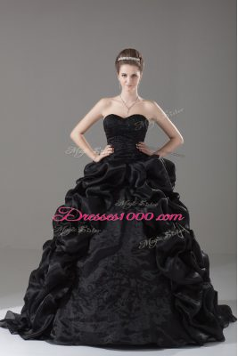 Popular Black Quince Ball Gowns Sweet 16 and Quinceanera with Embroidery and Pick Ups Sweetheart Sleeveless Brush Train Lace Up