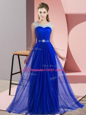 Scoop Sleeveless Wedding Party Dress Floor Length Beading Royal Blue Chiffon