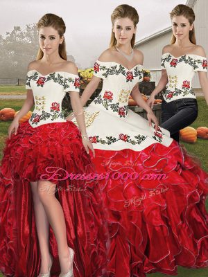 Beautiful Sleeveless Embroidery and Ruffles Lace Up Quinceanera Gown