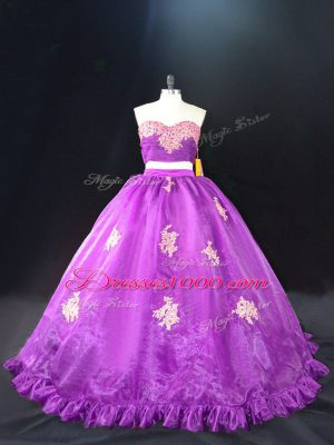 Purple Zipper Vestidos de Quinceanera Appliques Sleeveless Brush Train