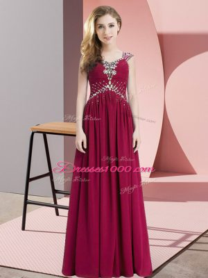 Attractive Fuchsia Empire Chiffon Straps Cap Sleeves Beading Floor Length Lace Up Prom Party Dress