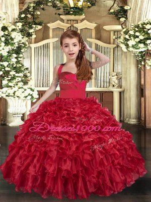 Modern Floor Length Red Glitz Pageant Dress Organza Sleeveless Ruffles