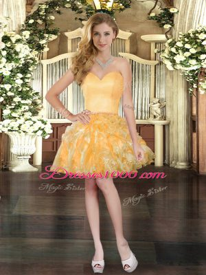Gold Club Wear Prom and Party with Ruffles Sweetheart Sleeveless Lace Up