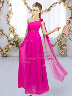 Hot Pink Empire Beading and Hand Made Flower Bridesmaid Dress Lace Up Chiffon Sleeveless Floor Length
