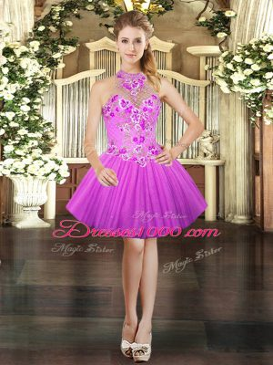 Lilac Halter Top Lace Up Embroidery Dress for Prom Sleeveless
