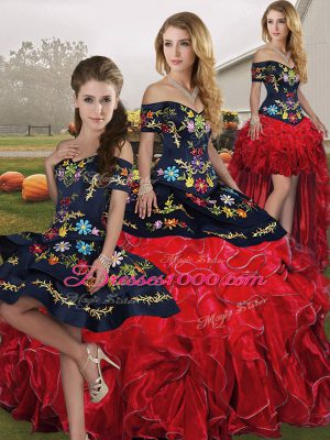 Organza Off The Shoulder Sleeveless Lace Up Embroidery and Ruffles 15 Quinceanera Dress in Red And Black